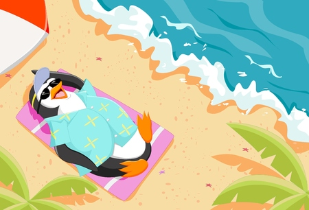 quench: cute cartoon penguin lying on the beach wearing sunglasses