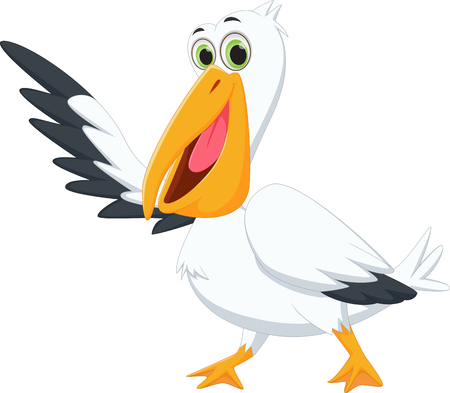 pelican: cute pelican cartoon waving Illustration