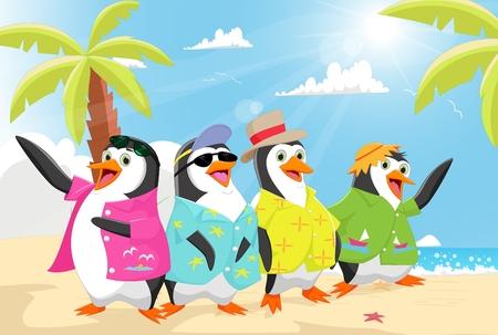 penguins on beach: cute penguins on the beach summer