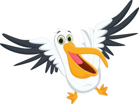 cute pelican cartoon Ilustrace