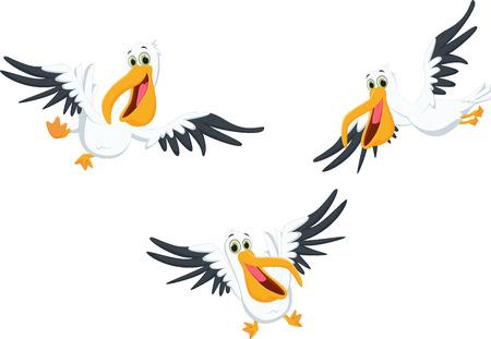 Słodkie kreskówka latający pelikan