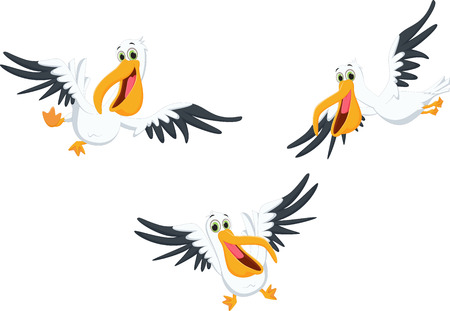 Cute pelican cartoon flying