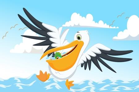 pelican: cute Pelican eating fish Illustration