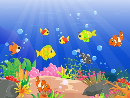 illustration of Beautiful underwater world with tropical fish Illustration