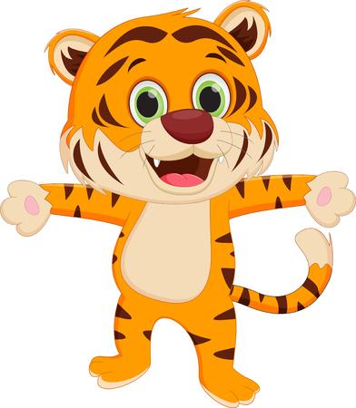 big eye cartoon: happy tiger cartoon