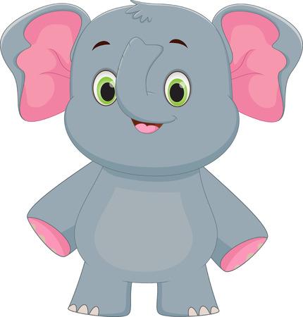 tusks: Cute baby elephant cartoon