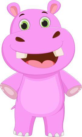 hipopotamo cartoon: hipopótamo lindo posando de dibujos animados