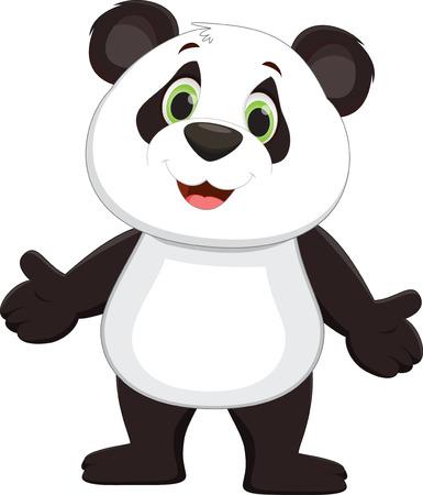 panda cartoon: Cute panda cartoon standing
