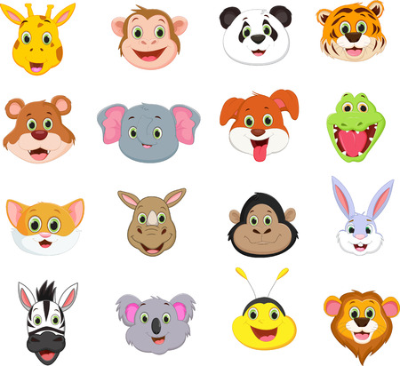 illustration of cute animal face cartoon collection