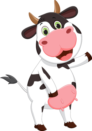 Cute cow cartoon waving 向量圖像