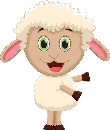 baa: cute baby sheep cartoon waving