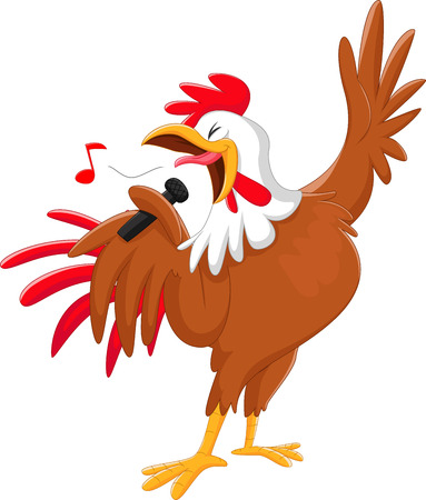 cute cartoon rooster singing a song. isolated on white