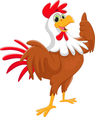 cute rooster give thumb up Vectores