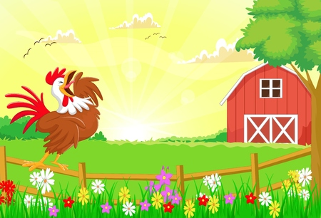 crowing: cute rooster crowing in the farm fence Illustration