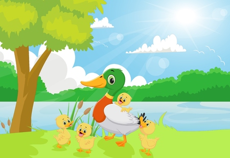 riverbank: Cartoon duck family on the riverbank