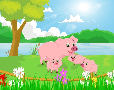 river bank: Cartoon pig family on the river bank