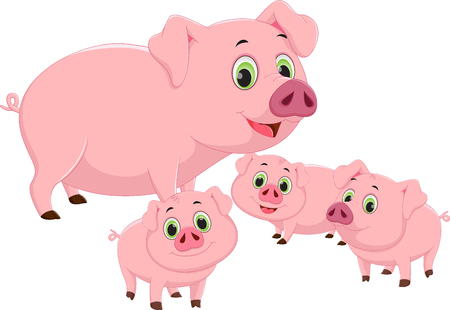 幸せな豚家族漫画  イラスト・ベクター素材