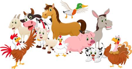 cartoon familie boerderijen geïsoleerd op een witte achtergrond Vector Illustratie