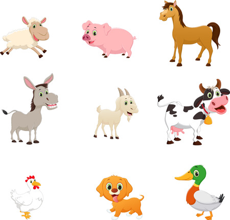 set of farm animal cartoon Vectores
