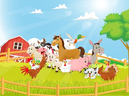 cock duck: Illustration of Farm Animals cartoon Illustration