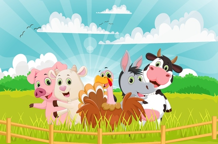 farm animal cartoon with background Illustration