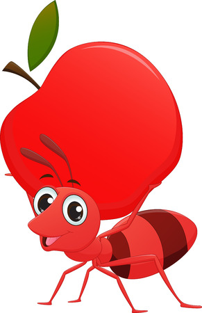 pincher: cartoon ant with apple