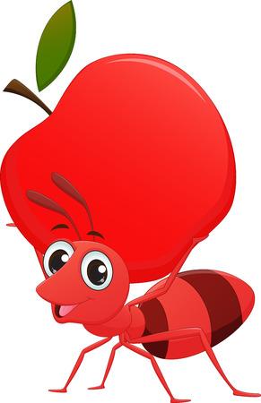 hormiga caricatura: hormiga de la historieta con la manzana