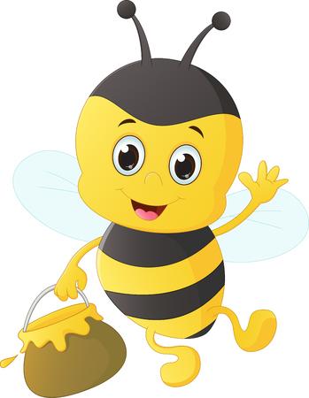 pollinate: funny cartoon bee carrying honey