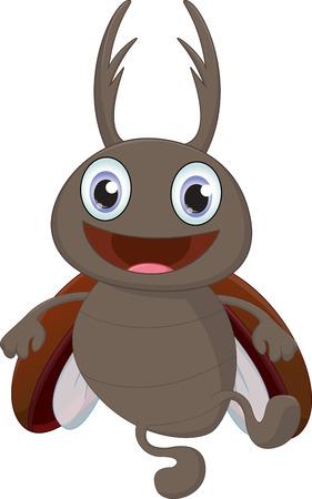 stag beetle: cute  stag beetle cartoon Illustration