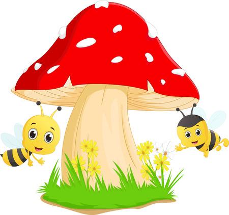 pollinate: cute bee cartoon with red mushroom