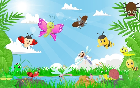 family of insects in the riverbank Illustration