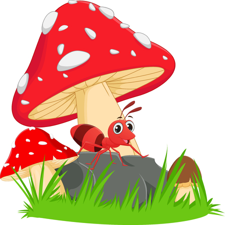 pincher: happy ant cartoon with red mushroom