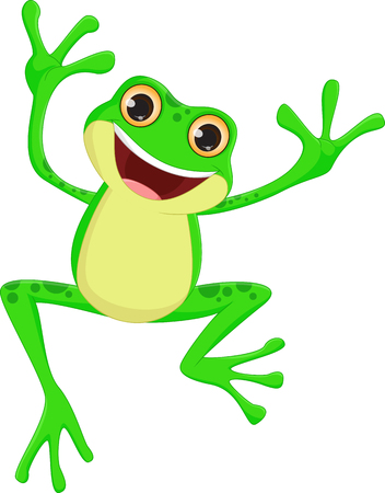 glücklich Frosch Cartoon Springen