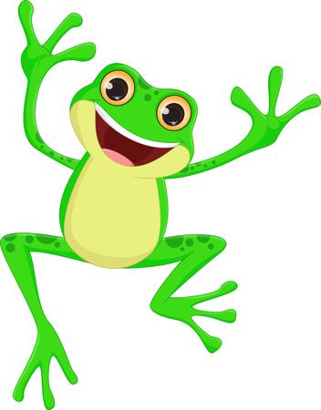 happy Frog cartoon springen