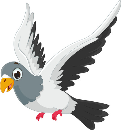 Schattige duivencartoon vliegen