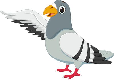かわいい鳩の漫画を振ってください。  イラスト・ベクター素材