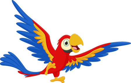 guacamaya caricatura: feliz guacamayo historieta del pájaro Vectores