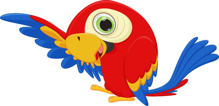 macaw: cute macaw bird cartoon waving Illustration