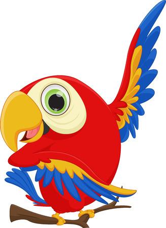 cute macaw bird cartoon waving Иллюстрация