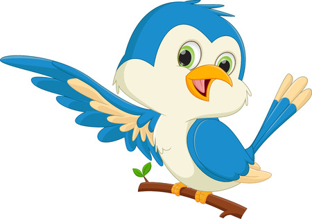 cute blue bird cartoon waving Illustration