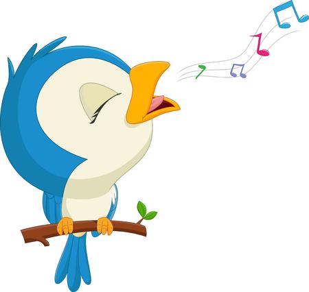 cartoon blue bird singing Ilustração