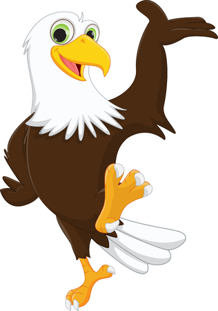 cute eagle cartoon waving hand Vectores