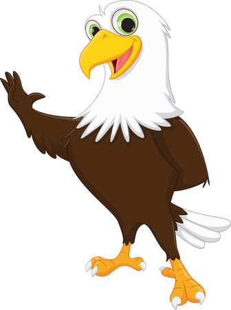 cute eagle cartoon waving hand 向量圖像