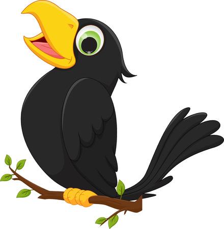 木の枝の上に座って漫画カラス  イラスト・ベクター素材