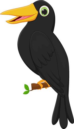 cartoon crow sitting on tree branch
