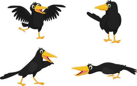 Set of cute cartoon crow Vettoriali