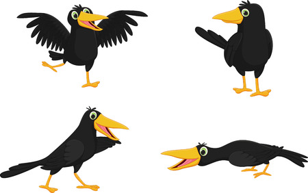 Set of cute cartoon crow Ilustracja