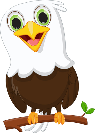 cute little eagle on a tree branch Ilustracja