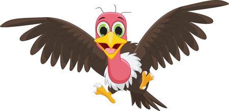 vulture: happy vulture cartoon flying Illustration