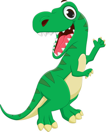 illustration of Dinosaurs cartoon waving hand Illustration